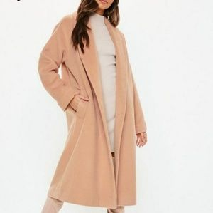 Missguided nude brushed shawl midi wool coat NWT